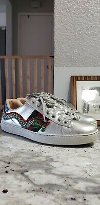 450a078fc GUCCI ACE DRAGON Embroidered Leather Low-Top Sneakers In Silver Size ...