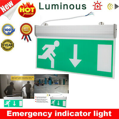 Indoor Emergency Exit Sign Light Fixtures LED Fire Lights W/Battery Back up New