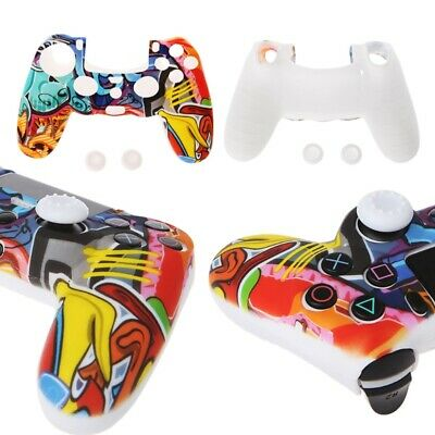 For PS4 Controller Multicolor Style Gamepad Silicone Cover Case + 2 Joystick Cap
