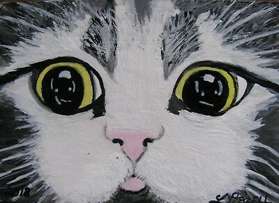 """A770      Original Acrylic Aceo Painting By Ljh       """"Homer""""     Cat Kitty"""