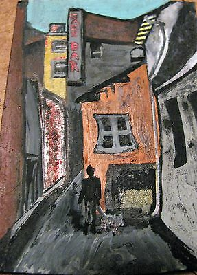 "A452      Original Acrylic Art Aceo Painting By Ljh    ""Side Street''"