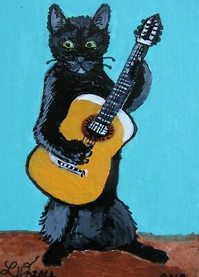 "A773      Original Acrylic Aceo Painting By Ljh       ""Guitar Kitty""   Cat"