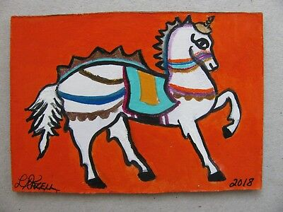 "A675      Acrylic Aceo Painting By Ljh  ""Tribal Horse"" One-Of-A-Kind"