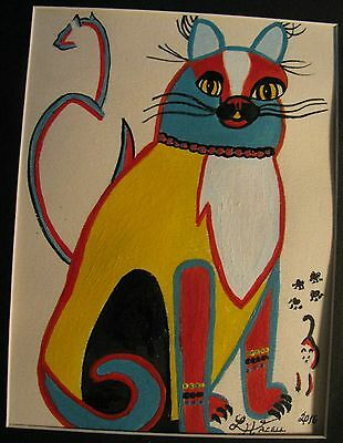 "C309   Original Acrylic  Painting By Ljh      ""Iggie"" Folk Art Cat"