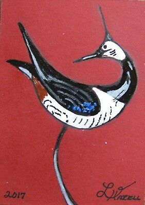 """A554  Original Acrylic Painting By Ljh """"Carved Shorebird"""""""