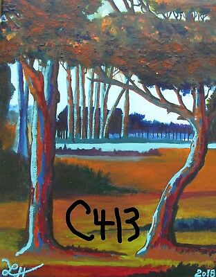 "C413  Original Acrylic Painting By Ljh        ""Lake In Woods"""