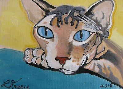 "A720   ORIGINAL ACRYLIC ACEO PAINTING BY LJH      ""CLEO''  SPHYNX        kitten"