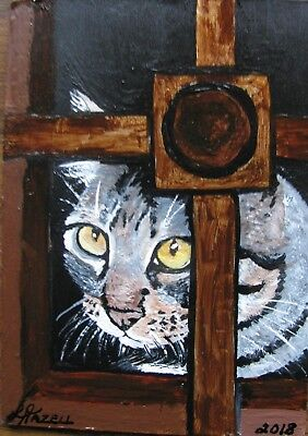 """A651         Original Acrylic Aceo Painting By Ljh         """"Window Cat''"""