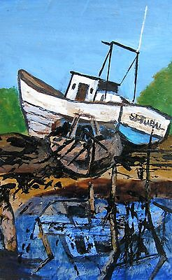 "A482  Original Acrylic Miniature Art Aceo Painting By Ljh ""Abandoned Boats"""
