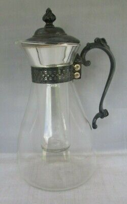 Glass Cooling Carafe Pitcher with Ice Tube Insert Silverplate Lid & Handle