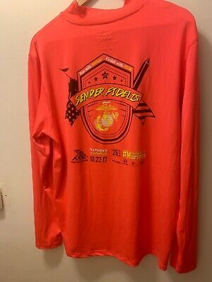 USMC Marine Corps Marathon Long Sleeve T-Shirt Green 2017 Ora Mens Size Large