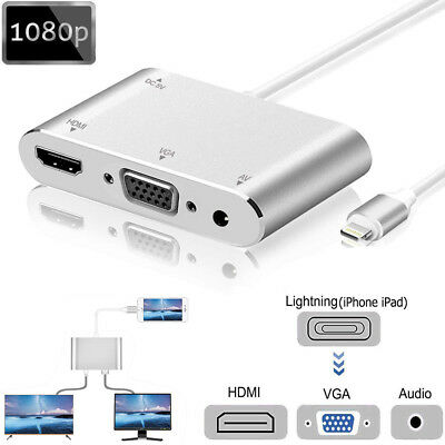 Lightning To HDMI VGA Digital AV Adapter Cables For Apple iPhone X 8 7 6S 6 Plus
