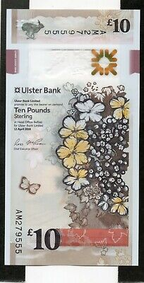 NORTHERN IRELAND £10 Pounds 2018 Ulster Bank P New UNC Polymer Banknote