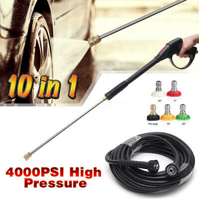 4000PSI High Pressure Power Washer Spray 5 Nozzle Water Gun+Lance Wand Hose Kit