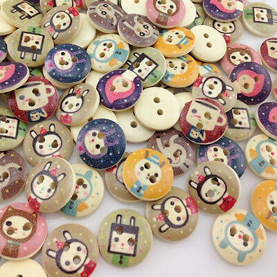 50//100pcs Mix Rabbit Pattern Wooden Buttons Fit Sewing  Scrapbook 15mm WB162