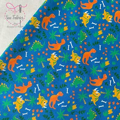 Blue Dinosaur Print Polycotton Childrens fabric, boys girls unisex, Material