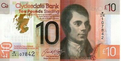 SCOTLAND £10 Pounds 2017 Clydesdale Bank UNC Polymer Banknote