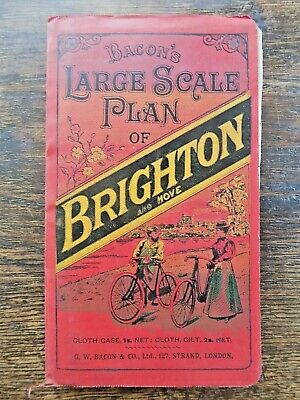 c1905 Bacon Brighton Hove Large Scale Plan Old Antique Map Sussex with Guide