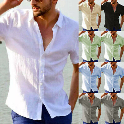 Mens Cotton Linen Short Sleeve Summer Shirts Casual Loose Dress Soft Tops Tee UK