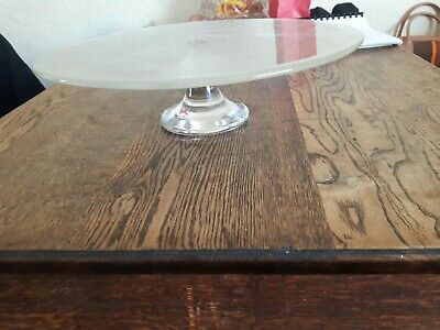 Vintage glass cake stand On Pedestal Glass art work Doves , children's Stunning