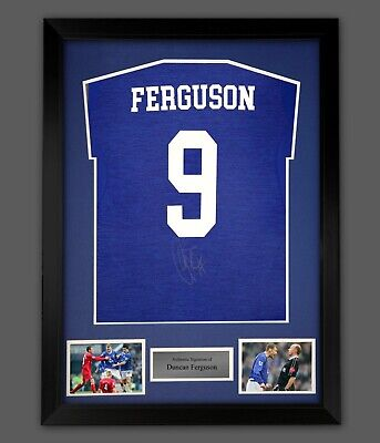 Duncan Ferguson Signed Everton Football Shirt Number 9 Framed Proof Coa