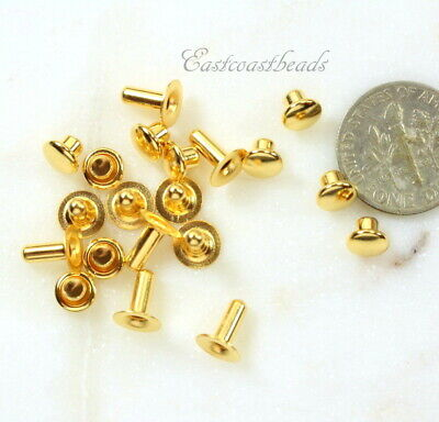 TierraCast Rivets, 6mm Compression Rivets, Gold Plated, 10 Sets, 6125