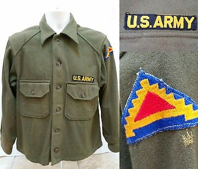 Vintage 40's WWII US ARMY WOOL SHIRT JACKET - 7th Army Patch - Size M