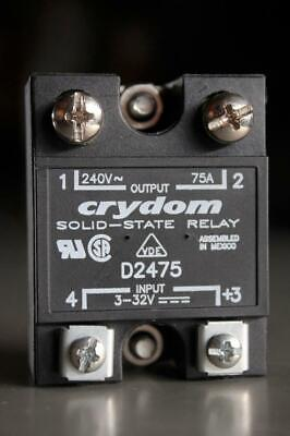 CRYDOM Panel Mount Solid State Relay D2475 Input: 3-32 VDC  Output: 75A 240 VAC