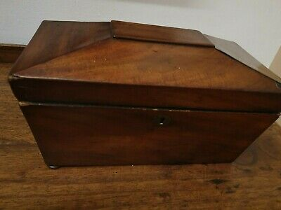 antique mahogany veneer sarcophagus shape  TEA CADDY BOX