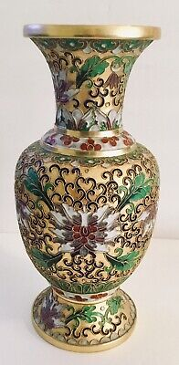 "Antique Chinese Brass and Enamel Cloisonne Vase 10"" Floral Motif. (1692)."
