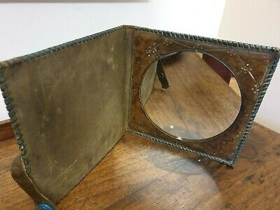 antique arts and crafts leather horse decoration green folding traveling MIRROR