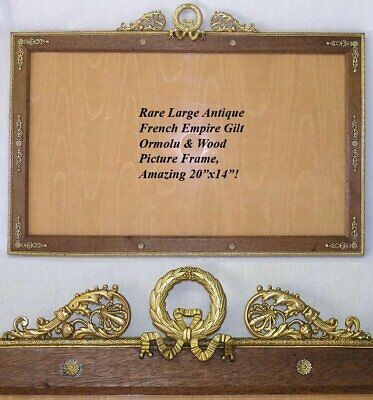 "HUGE Antique French Empire 20"" Picture Frame, Gilt Ormolu, Wood Mat, Bow, Wreath"