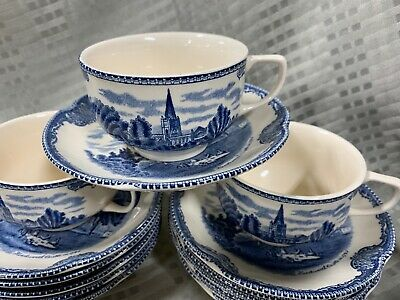 JOHNSON BROTHERS ENGLAND TEA CUP & SAUCER OLD BRITAIN CASTLES BLUE (1) Price Per
