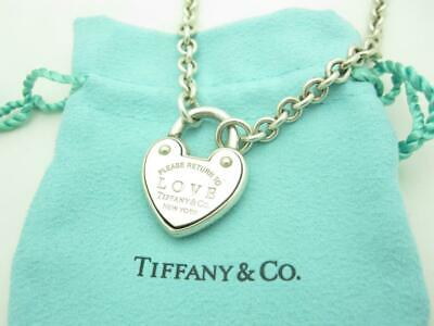 Return To Tiffany & Co Sterling Silver LOVE Heart Padlock Pendant Chain Necklace