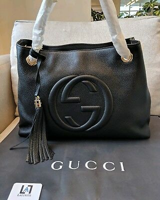 6c18eedf6 100% AUTHENTIC BLACK Gucci Soho Disco Bag With Copy Of Receipt And ...
