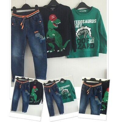 H&m George Boys Dinosaur Jeans Jumpers 4-5 Years
