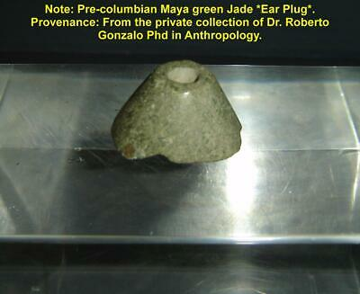 Rare Pre Columbian Mexico Maya Large Green Jade Ear Plug With Provenance