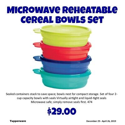 Tupperware MICROWAVE REHEATABLE CEREAL BOWLS  NEW
