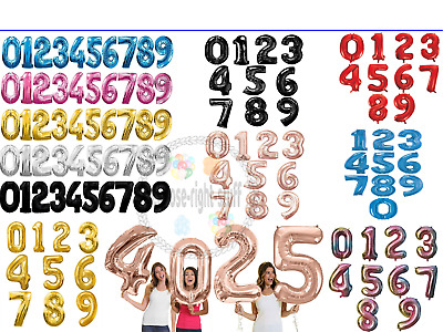"""40"""" Giant Foil Number Air Helium Baloons Large Balloons Birthday Party BASH FOIL"""