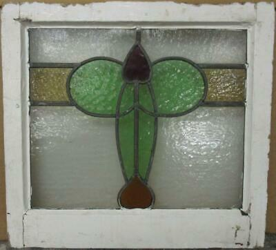 "OLD ENGLISH LEADED STAINED GLASS WINDOW Pretty Band & Heart Design 19.5"" x 18"""