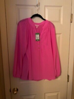 f4949caae2b7e3 LILLY PULITZER PINK Elsa Blouse Large Silk Long Sleeve Signature ...