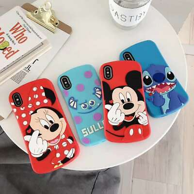 3D Disney Mickey Minnie Finger Heart Silicone Case Cover For iPhone 7 8 XS Max