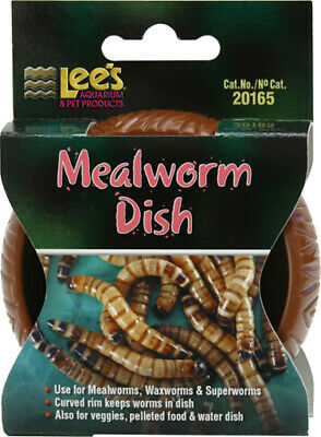 Lees Mealworms Dish Reptile Food Bowl mealworms superworms dubia roach FREE SHIP