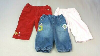 Baby GIRLS 3-6 Months JEANS TROUSER Bundle 3 Pairs