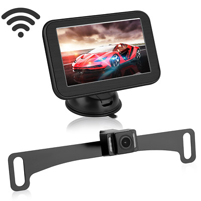 Wireless Car Rear view System Monitor Magnetic Suction+License Backup Camera HD