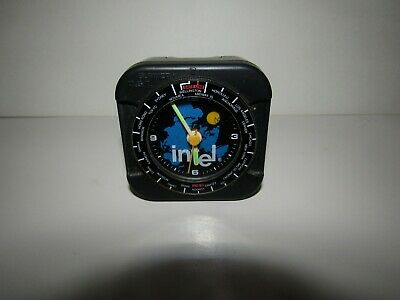 Intel Small Black Desk Clock - World Dial - Doesn't Work, Rattles - Rare Vintage