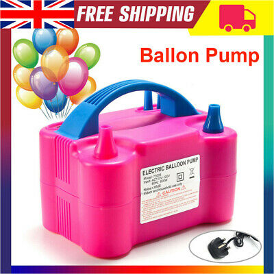 High Power Electric Balloon Pump Inflator Air Blower Two Nozzle Party UK Plug