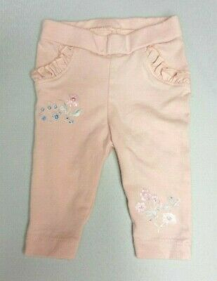NUTMEG Baby GIRLS LEGGINGS trousers Newborn upto 1 month 10lbs Pink floral frill