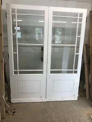 Victorian French Doors Old Antique Period Reclaimed Pine Wooden Clear Glazed