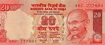 INDIA 20 Rupees 2007 P96b Letter R - UNC Banknote '777' serial #